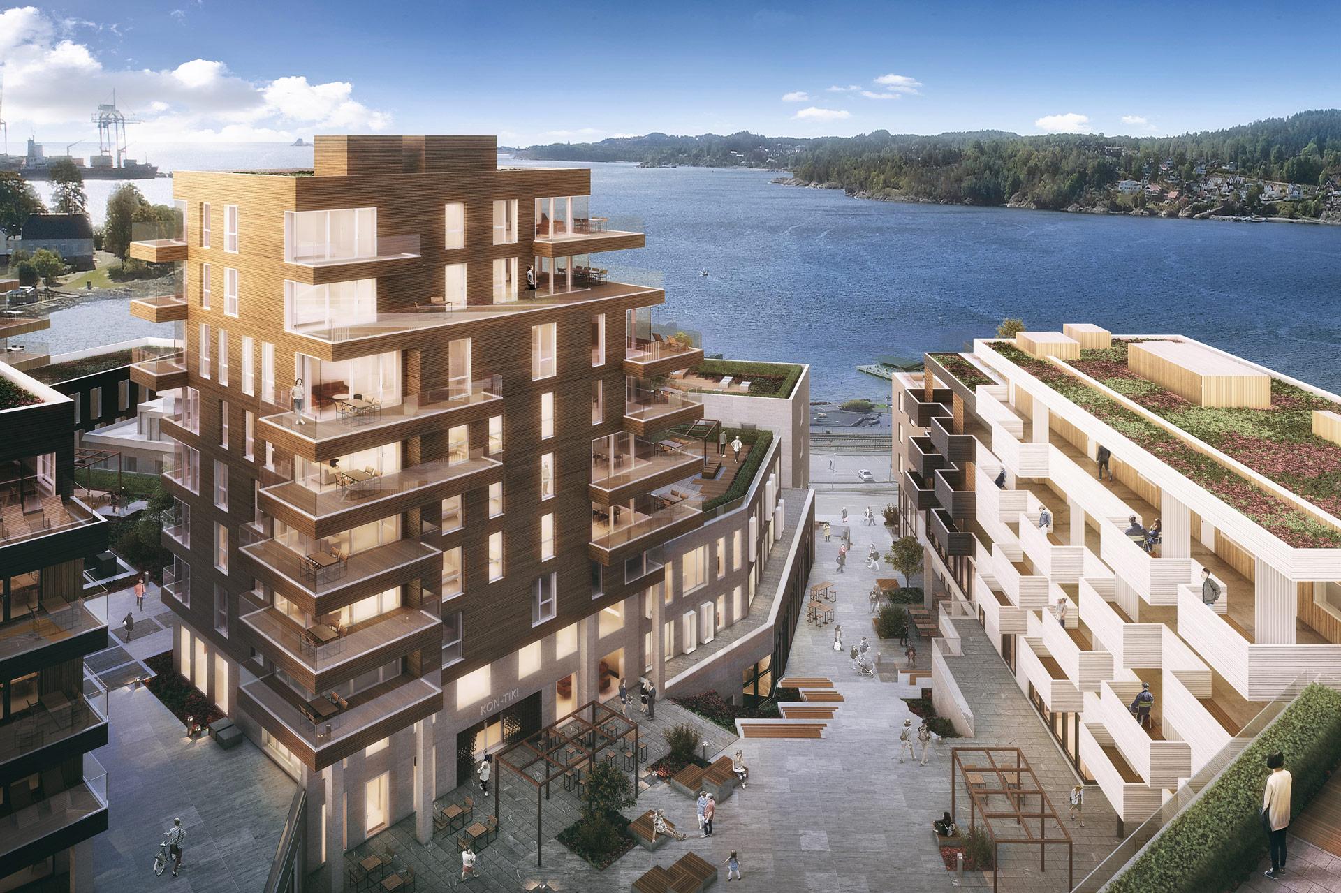Illustrasjon av prosjetet med utsikt over fjorden